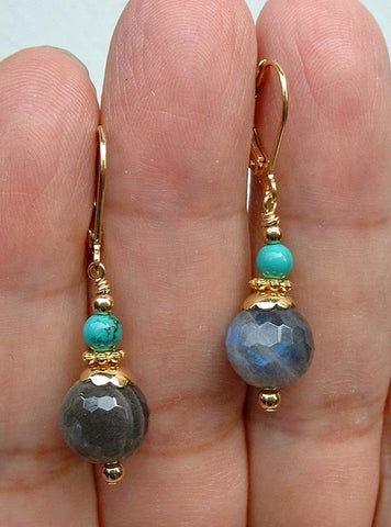 Labradorite + Turquoise Earrings