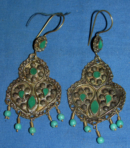 Malachite + Turquoise Alpaca Silver Earrings