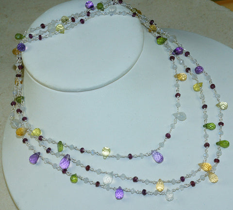 Moonstone, Amethyst, Tourmaline Necklace-23