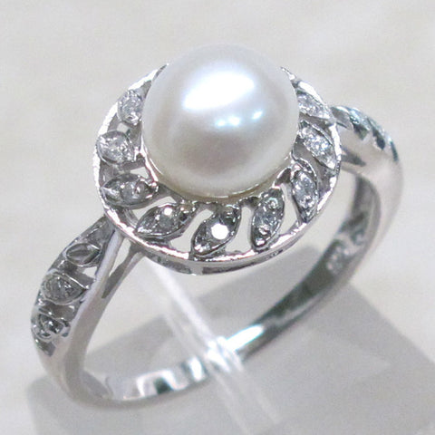 Freshwater Pearl + White Topaz Ring - Size 10