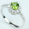 Peridot and White Topaz Ring - Size 8