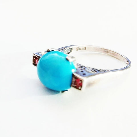 Art Deco Turquoise and African Ruby Ring - Size 7