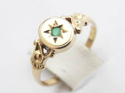 Victorian Emerald Solid Gold Ring - Size 5