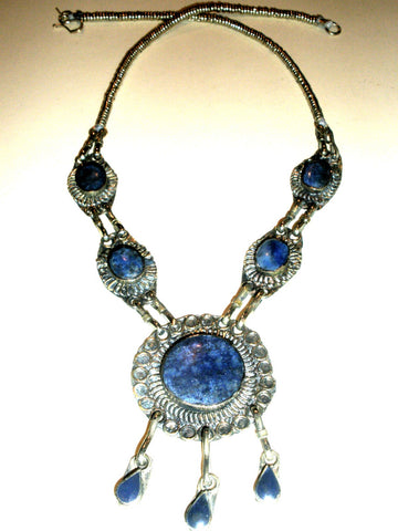 Vintage Lapis Silver Tribal Necklace