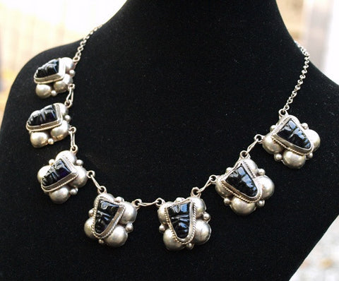 Vintage Carved Onyx Necklace
