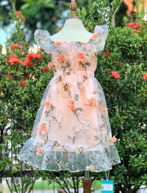 3d Organza orange dress for garden party