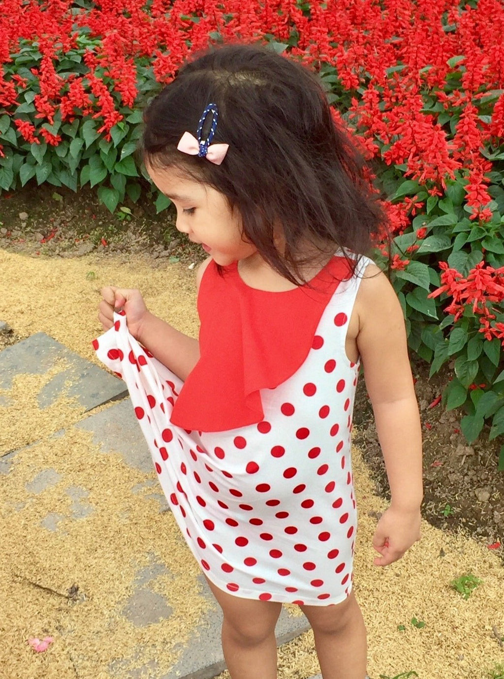 red Polka dotted Frill Dress