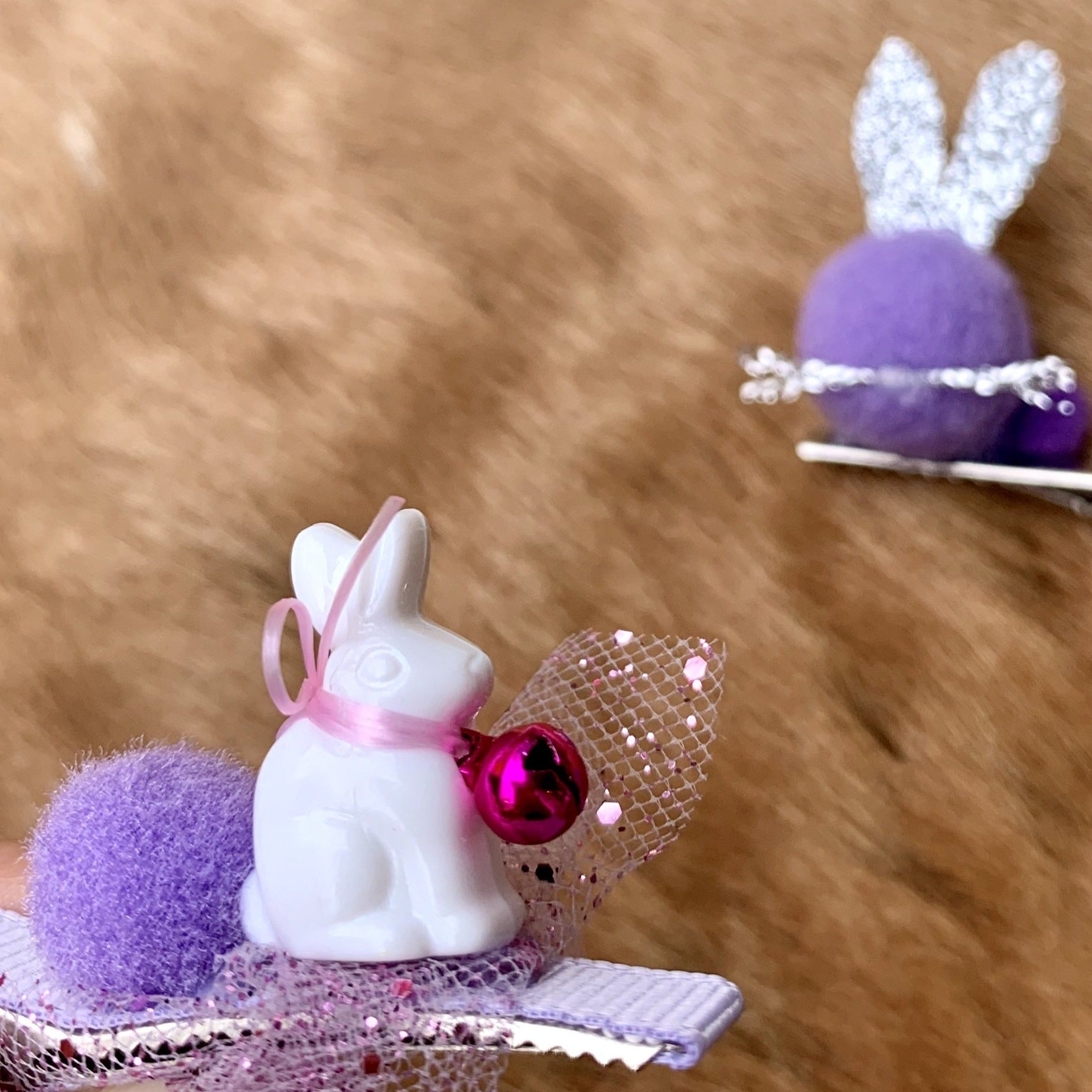 purple 3D rabbit hairclips