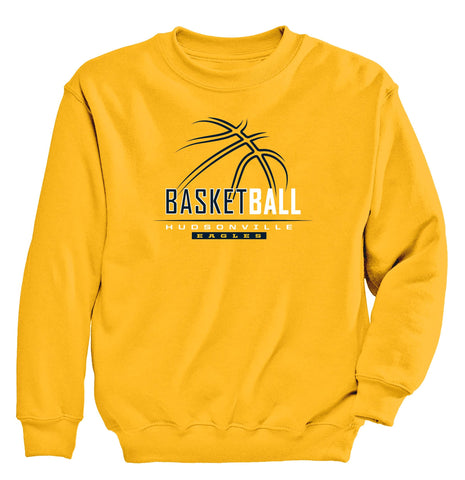 Hudsonville - Crewneck Sweatshirt - Basketball Outline
