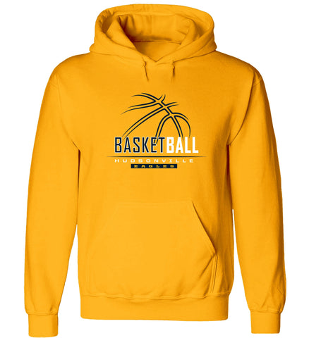 Hudsonville - Hooded Sweatshirt - Basketball Outline