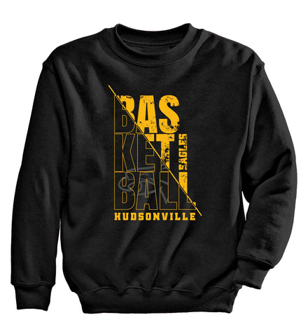 Hudsonville - Crewneck Sweatshirt - Basketball Stacked Words