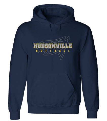 Hudsonville - Hooded Sweatshirt - Softball Ghost Eagle