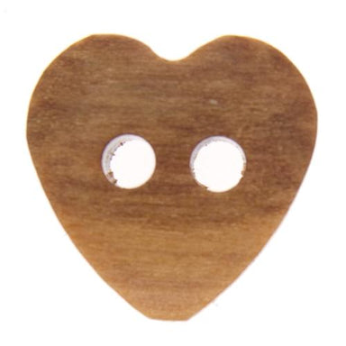 Italian Buttons Buttons 12mm Italian Buttons Wooden Heart 2-hole Button (Natural) 25382050