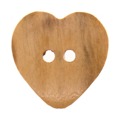 Italian Buttons Buttons 19mm Italian Buttons Wooden Heart 2-hole Button (Natural) 25447586