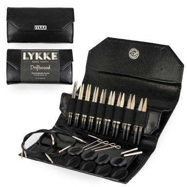 "Lykke Needles Lykke 3.5"" Interchangeable Knitting Needle Set - Driftwood - Black Faux Leather"