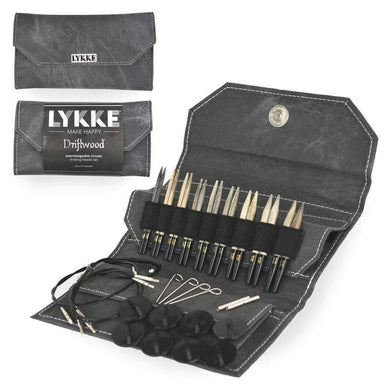 "Lykke Needles Lykke 3.5"" Interchangeable Knitting Needle Set - Driftwood - Grey Denim"