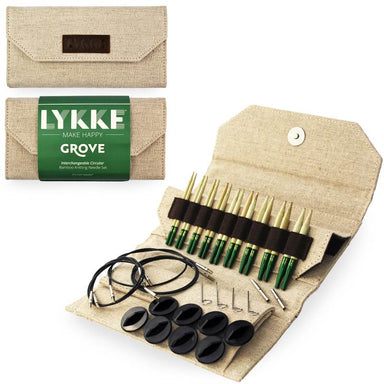 "Lykke Needles Lykke 3.5"" Interchangeable Knitting Needle Set - Grove - Jute Canvas 841275155237"