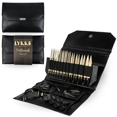 "Lykke Needles Lykke 5"" Interchangeable Knitting Needle Set - Driftwood - Black Faux Leather"