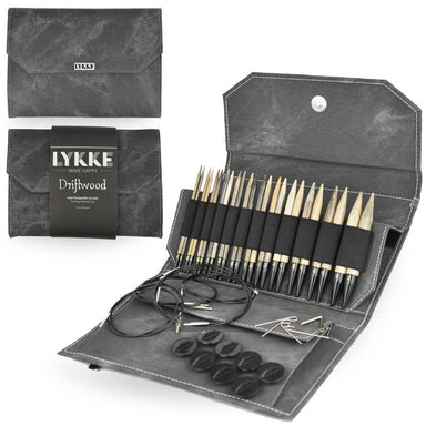 "Lykke Needles Lykke 5"" Interchangeable Knitting Needle Set - Driftwood - Grey Denim"