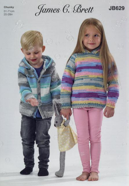 James C. Brett Patterns James C. Brett Party Time Chunky - Hooded Sweater and Jacket (JB629) 5055559624158