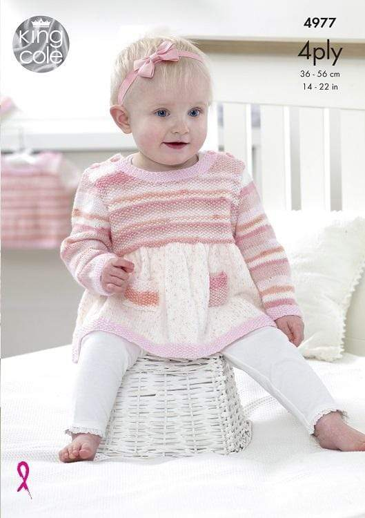 King Cole Patterns King Cole 4 Ply - Dress, Sweater and Cardigan (4977) 5015214836081