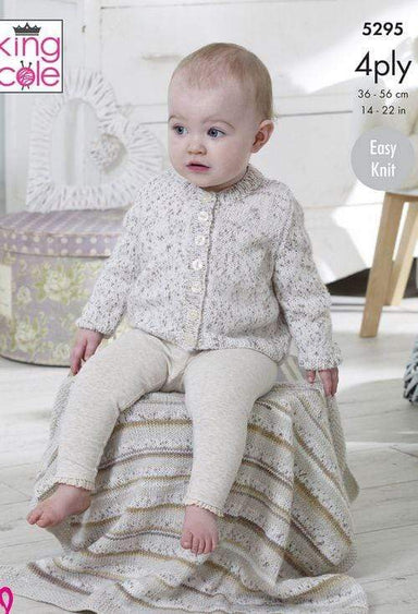King Cole Patterns King Cole Big Value Baby 4 Ply - Cardigans, Sweater and Blanket (5295) 5057886000605