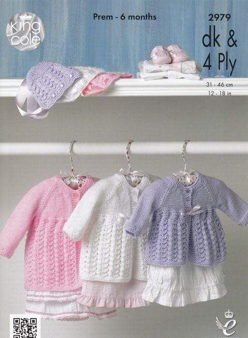 King Cole Patterns King Cole DK & 4 Ply - Baby Matinee Coat and Bonnet (2979) 5015214984713
