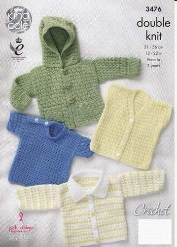 King Cole Patterns King Cole DK - Hooded Jacket, Cardigan with Collar, Sweater and Waistcoat (3476)
