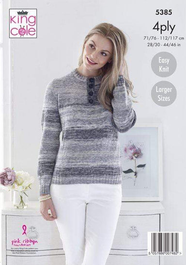 King Cole Patterns King Cole Drifter 4 Ply - Sweater & Slipover (5385) 5057886007482