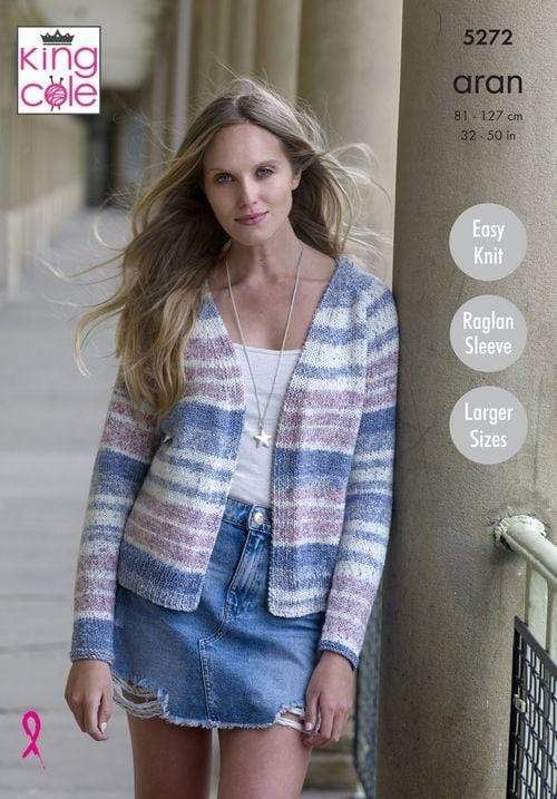 King Cole Patterns King Cole Drifter Aran - Ladies Cardigans (5272) 5057886000599
