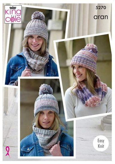 King Cole Patterns King Cole Drifter Aran - Snoods and Hats (5270) 5057886000575