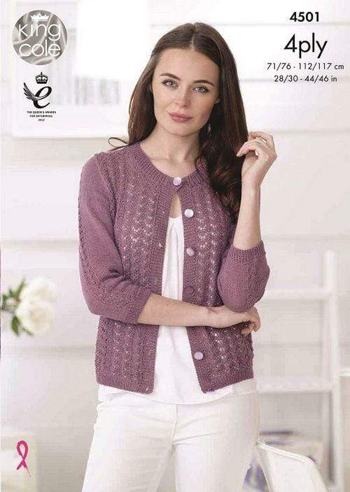 King Cole Patterns King Cole Giza Cotton 4 Ply - Cardigan and Top (4501) 5015214822619
