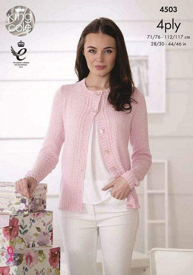 King Cole Patterns King Cole Giza Cotton 4 Ply - Cardigan and Top (4503) 5015214822633