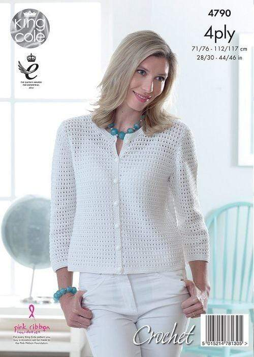 King Cole Patterns King Cole Giza Cotton 4 Ply - Lady's Crochet Cardigan with 3-4 sleeves (4790) 5015214781305