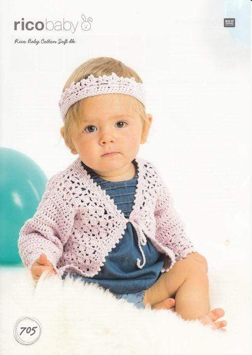 Rico Design Patterns Rico Design Baby Cotton Soft DK - Cardigan and Headband (705) 4050051562954