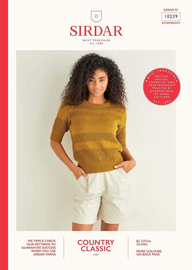 Sirdar Patterns Sirdar Country Classic 4 Ply - Sweater (10239) 5024723102396
