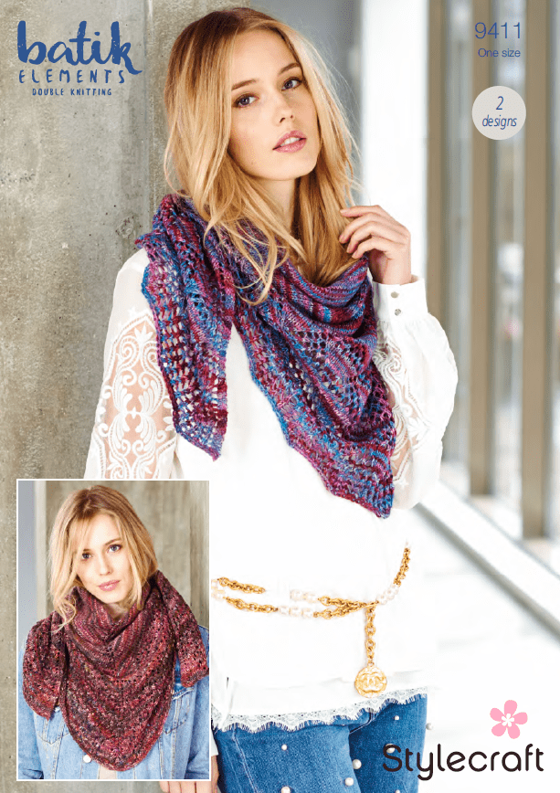 Stylecraft Patterns Stylecraft Batik Elements DK - Shawls (9411) 5034533070860
