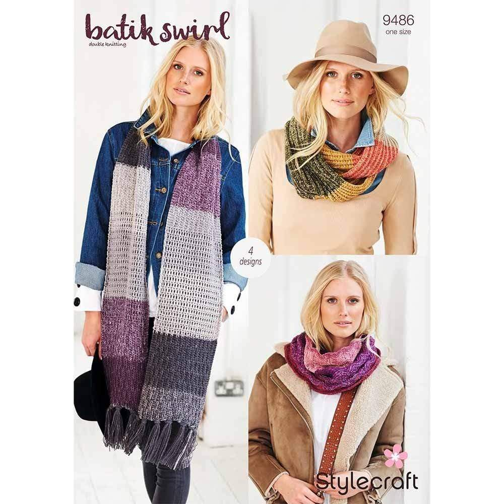 Stylecraft Patterns Stylecraft Batik Swirl DK - Scarves (9486) 5034544071676