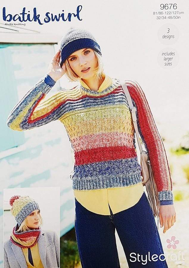 Stylecraft Patterns Stylecraft Batik Swirl DK - Sweater, Snood & Hat (9676) 5034533073717
