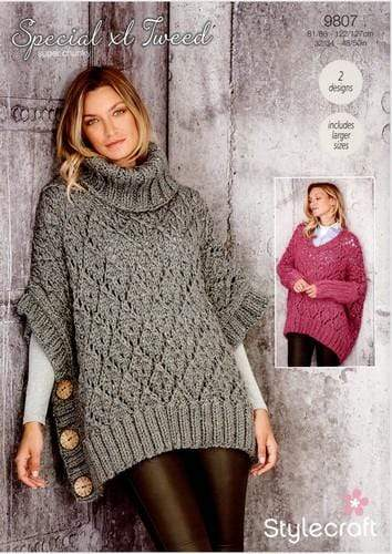 Stylecraft Patterns Stylecraft Special XL Tweed Super Chunky - Sweater and Poncho (9807) 5034533075001