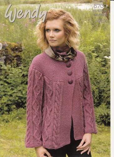 Wendy Patterns Wendy Aran with Wool - Cabled Jacket (5700) 5015832457002