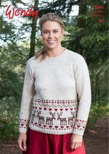 Wendy Patterns Wendy DK - Drop Sleeve Sweater with Reindeer Fairisle Border (5874) 5015832458740
