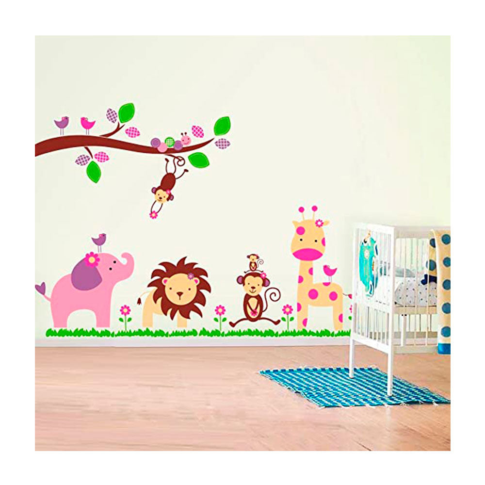 Vinilo Decorativo Sticker Autoadhesivo para Pared Infantil Animales Selva AY869