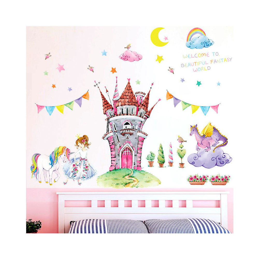 Vinilo Decorativo Sticker Autoadhesivo para Pared Infantil Castillo SK9302