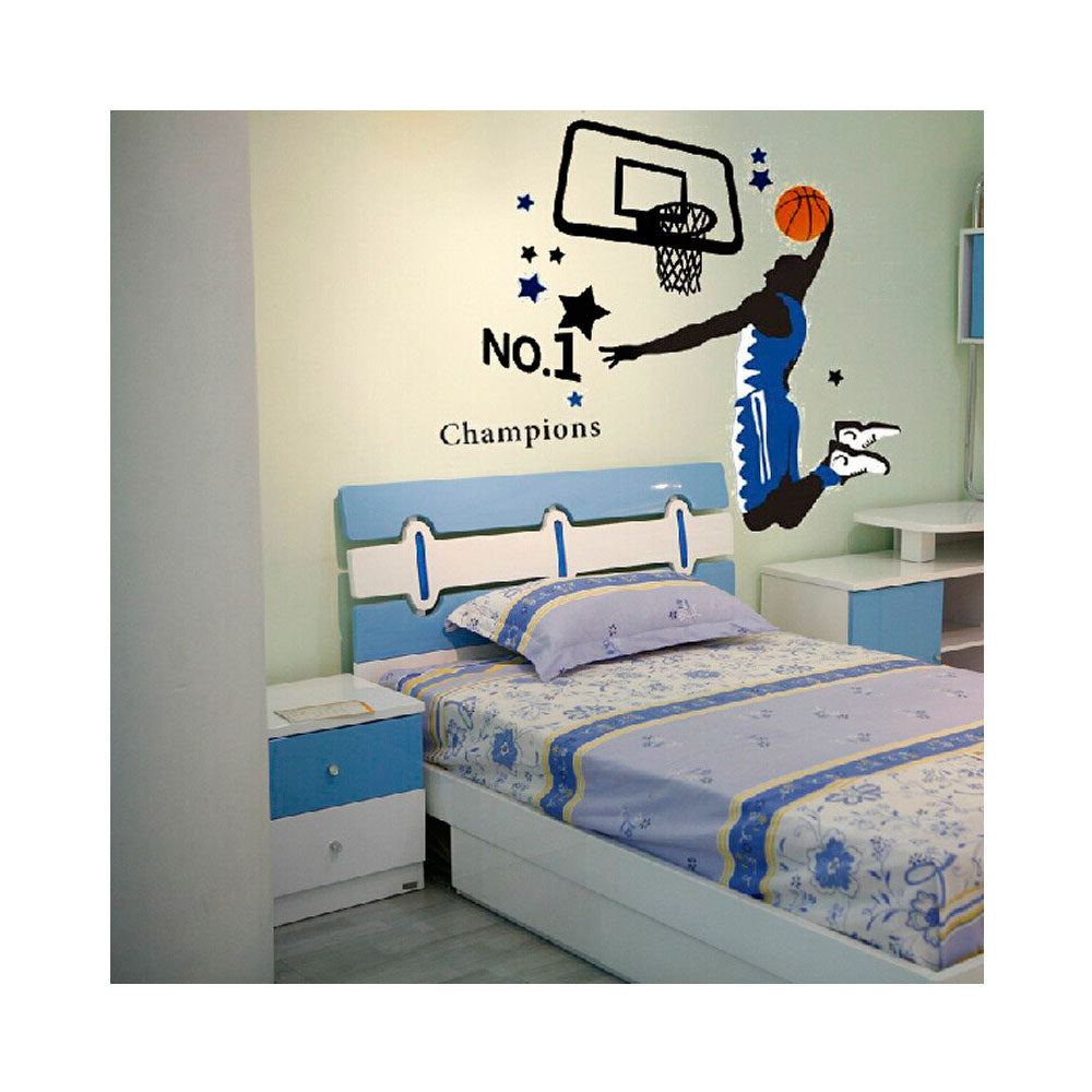 Vinilo Decorativo Sticker Autoadhesivo para Pared Baloncesto Azul