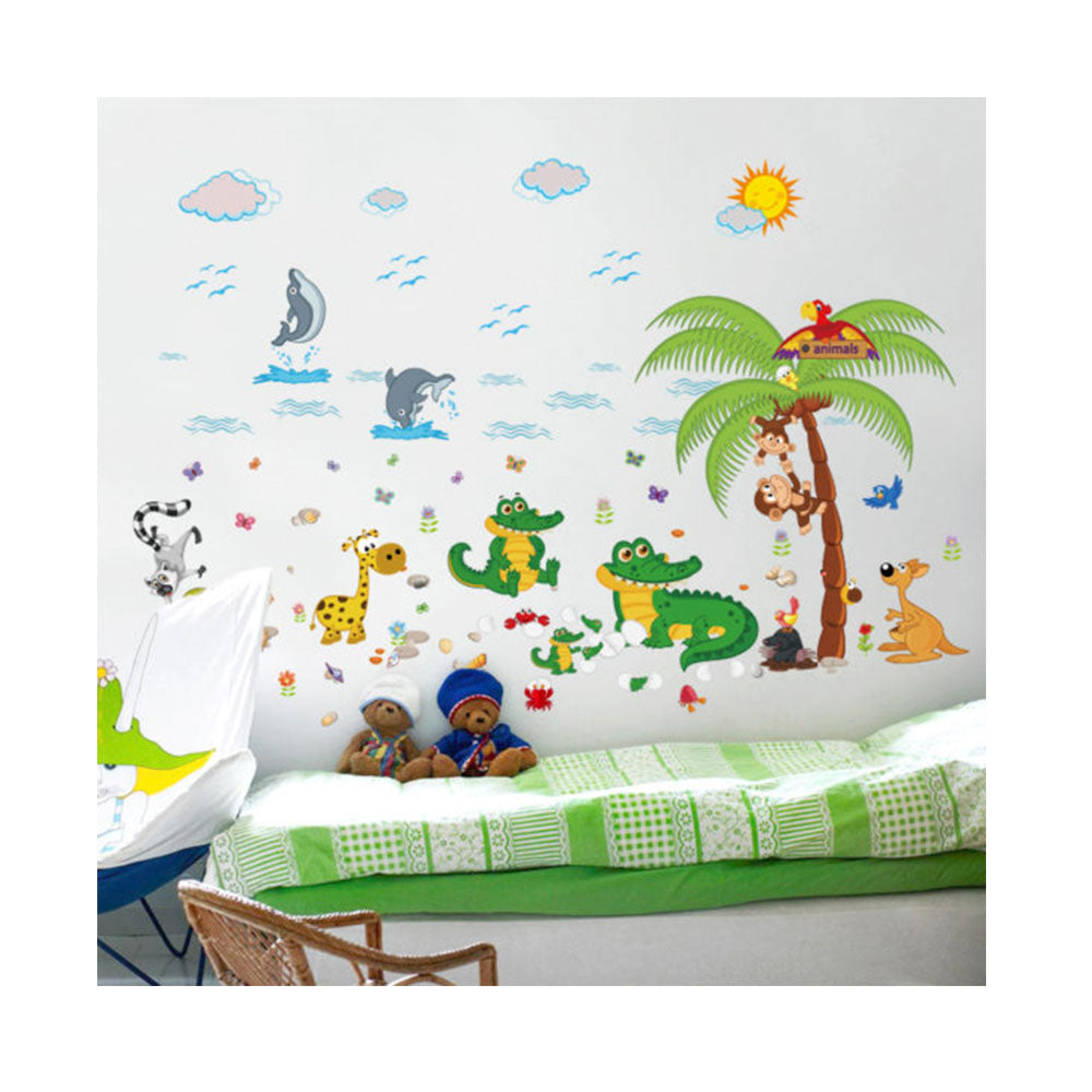 Vinilo Decorativo Sticker Autoadhesivo para Pared Infantil Animales Playa SK9090
