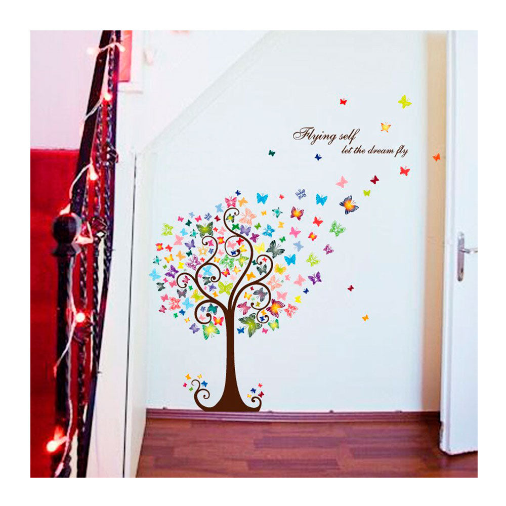 Vinilo Decorativo Sticker Autoadhesivo para Pared Naturaleza Árbol Colores HM92007