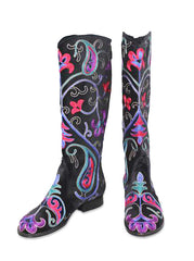 Velvet Embroidered Boots - Black
