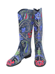 Velvet Embroidered Boots - Blue