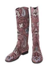 Velvet Embroidered Boots - Brown